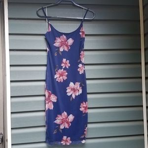 Blue floral bodycon dress